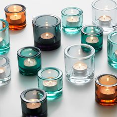 Designed by Heikki Orvola in Ittala's Kivi tealights are like small colourful jewels of light. Candels, Votive Candles, Scented Candles, Candle Sticks, Big Vases, Glass Tea Light Holders, Candlestick Holders, House Colors, Tea Lights