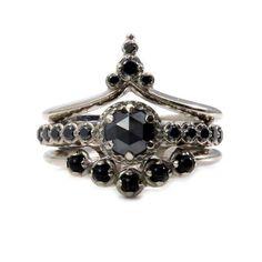 Gothic Art Deco Black Diamond Engagement Ring Set  Black