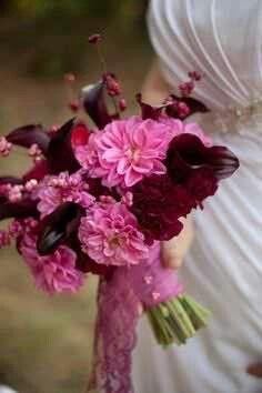 Hand Tied Wedding Bouquet Featuring: Pink Chrysanthemums, Marsala Carnations, Aubergine Calla Lilies, Pink Snowberries