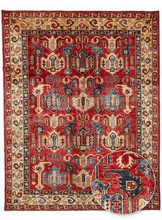 Tapis NOUÉ MAIN KAZAK 29 TEINTURE VEGETALE rouge de la collection Unamourdetapis