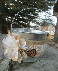 Personalized Flower Girl Bucket - Burlap and Lace Wedding Basket - Rustic Flower Girl Basket - Wedding Basket