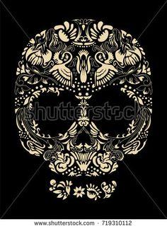 Floral human skull vector. Decorative beautiful design. Bird accents