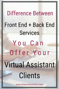 Do you understand the difference between offering front end services and back end services in your Virtual Assistant Business. Work From Home Business, Work From Home Jobs, Business Tips, Online Business, Business Education, Business Planning, Admin Work, Office Admin, Planners