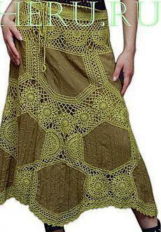 Юбка ткань+вязание..