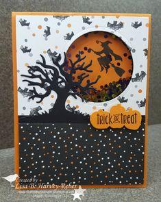 Spooky Fun Shaker CYCI # 138 - Basteln & Co. Halloween Scene, Theme Halloween, Halloween Night, Handmade Halloween Cards, Cricut Halloween Cards, Papel Scrapbook, Scrapbook Cards, Thanksgiving Cards, Holiday Cards