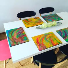 Painted Table Tops, Tea Coaster, Country Paintings, Wood Coasters, Resin Art, Decoupage, Abstract, Crafts, Furniture