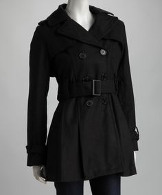 Another great find on #zulily! Black Double-Breasted Trench Coat by Yoki #zulilyfinds