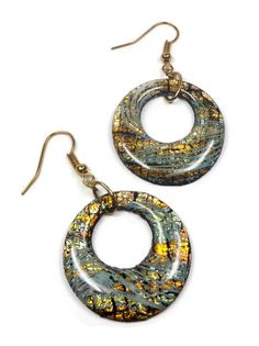 Large Hoop Earrings-Resin Earrings Polymer clay by BeadazzleMe $16.00 #earrings #fashion #jewelry