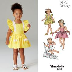 Adorable vintage pattern for toddlers which can be worn as a romper or a skirt! DIY with Simplicity pattern 8099.