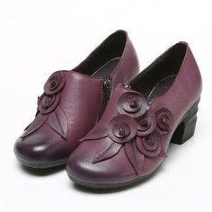 6ae84d252d5f SOCOFY Retro Handmade Floral Leather Mid Heel Shoes   DoesAldenMakeWomensshoes Cute Shoes