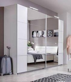 SlumberHaus German Modern Davos White Chrome Mirror 5 Door 225cm Wardrobe