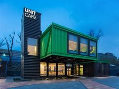 Completed in 2016 in Kiev, Ukraine. Images by Mihail Cherny - Evgen Zuzovsky. The cafe 'Unit' became one of the objects of the revitalization project of the part of the plant in Kiev and our team was working on it. This cafe is. Container Home Designs, Sea Container Homes, Container Shop, Building A Container Home, Shipping Container Restaurant, Shipping Container Office, Shipping Container Design, Shipping Containers, Container Architecture