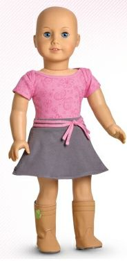 American Girl doll without hair - because not every little girl gets to have hair.