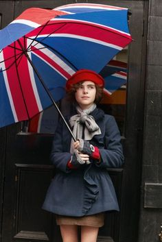 Union Jack umbrella + cute hat and scarf