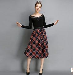 2015 de la tela escocesa mujeres del invierno del otoño niña británica del estilo del algodón escocés Vintage altura del tobillo faldas largas de moda del envío WY86(China (Mainland))