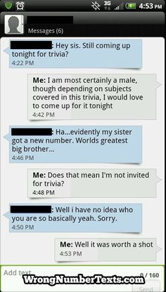 Wrong Number Texts Funny Wrong Number Texts, Funny Texts, Funny Things, Funny Stuff, New Number, Trivia, The Funny, Laughing, Fun Facts