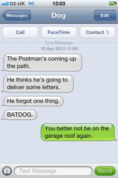 Texts from the dog  Mailman forgot one thing...Batdog!