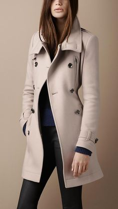 Burberry Brit Funnel Neck Wool Coat
