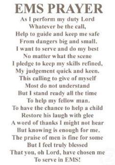 Poem : The EMS Prayer