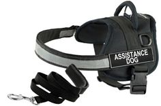 """Dean and Tyler Bundle - One """"DT Works"""" Harness, Assistance Dog, XSmall (21"""" - 26"""")   One """"Padded Puppy"""" Leash, 6 FT Stainless Steel Snap - Black"""