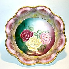 RS Prussia Bowl, Empire Pink Roses, Hand Painted