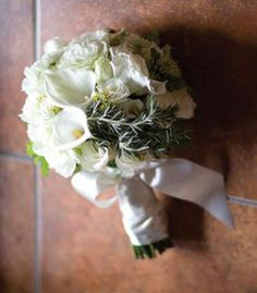 Bridal Bouquets and Wedding Flowers: White hand-tied bouquet