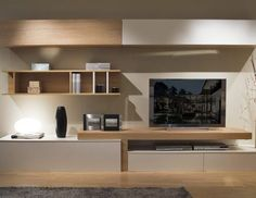 20 Outstanding Ideas For TV Shelves To Design More Attractive Living Room TV shelves are necessary items for every living room, and the. Living Room Wall Units, Living Room Tv Unit Designs, Living Room Modern, Living Room Interior, Home Living Room, Tv Furniture, Living Room Furniture, Furniture Design, Furniture Dolly