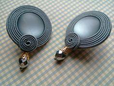 Soutache earrings Glass beads Swarovski drop vintage cabochon Leather Nickel free stud 7 cm in lenght Neon Jewelry, Beaded Jewelry, Jewelery, Lace Earrings, Soutache Earrings, Handmade Necklaces, Handmade Jewelry, Shibori, Diy Choker