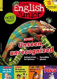 I Love English Junior, una revista para aprender inglés de forma divertida, a través de temas apasionantes e imágenes espectaculares. Dirigida a estudiantes a partir de 9 años con un nivel básico de inglés. Con cada ejemplar, se ofrece un CD audio con la grabación íntegra de la revista.