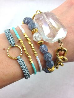 """""""Grey Skies and Blue Eyes"""" arm candy bracelets"""