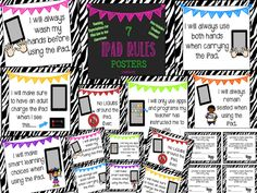 More iPad Rules Posters (Zebra Edition)