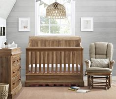 The Pembrooke 4 in 1 Convertible Crib is designed to meet all of your growing baby's needs. Transforming from a crib, to a toddler bed, to a full size bed with a headboard or with a headboard and a footboard! The natural rustic finish, solid wood construc