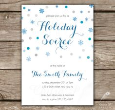 Holiday Party Invitation - Printed or Digital, Confetti, Silver, Bridal, Baby, Shower, Glitter, Couple, Winter, Corporate - Style #0054