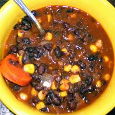 Vegan Black Bean Soup Allrecipes.com, the best black bean soup I have ever eaten! This is a staple in our house. I do add a small jar of roasted red pepper, a little more pepper and the tomatoes are canned diced with green chiles.