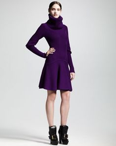 Ribbed Knit Snood Dress by Alexander McQueen at Neiman Marcus.
