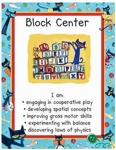 Block Center, Kindergarten Readiness, Cat Signs, Gross Motor Skills, Classroom Themes, Bulletin Boards, Preschool, Management, Wall Decor