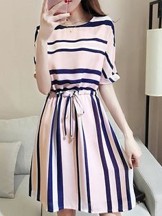Round Neck Drawstring Striped Skater Dress Looking for Latest Trends Street Skater Dresses? Off you really don't want to miss Enjoy First Order Off Cheap Skater Dresses, Women's A Line Dresses, Day Dresses, Cute Dresses, Dresses Online, Casual Dresses, Fashion Dresses, Skater Skirts, Shift Dresses