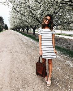 t-shirt striped dress + leather tote perfect for spring or summer