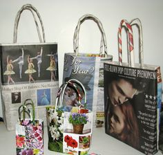 812ea41a30a9 Newspaper recycled Shopping bags Newspaper Bags