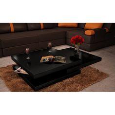 Table basse de salon carrée en MDF noir laqué pivotante pour Tables...