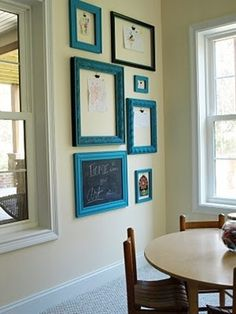 :: spray paint cheap, empty frames for the kids art
