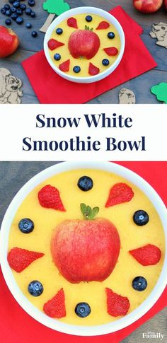 Enjoy this delicious smoothie bowl inspired by Snow White and the Seven Dwarfs. All you need are fruit, juice, and ice to make this simple and healthy smoothie bowl recipe. Share with a friend for a refreshing snack!