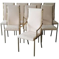 Set of Eight Regency Mastercraft Brass Dining Chairs | From a unique collection of antique and modern dining room chairs at https://www.1stdibs.com/furniture/seating/dining-room-chairs/