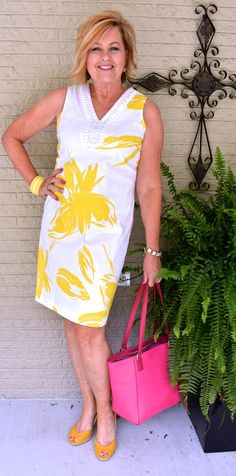 50 IS NOT OLD | SUNSHINE | Dress | Yellow + Pink | Fashion over 40 for the everyday woman #summer #dress #verabradley #over 40