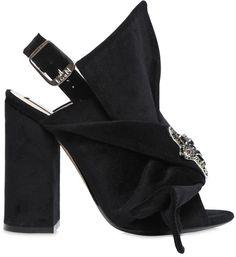 110mm Bow Velvet Sandals W/ Crystal Star