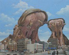 Japanese cityscape with giant wildlife
