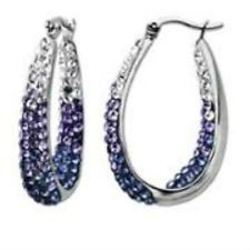 Luminesse Sterling Silver Purple Fade Hoop Earrings designer elegant crystal | http://www.cbuystore.com/page/viewProduct/10070050 | United States