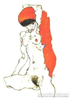 Female nude with orange-red cloth - Egon Schiele