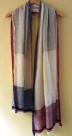 Style Code: VDPL CC Stole 0009 Description: Hand woven stole Conventional Cotton With Azo free VAT dyes Color: Combination of Red, Blue and White Size: 23 x 78 inch Hijab Fashion, Plaid Scarf, Red And Blue, Hand Weaving, Scarves, Japanese Market, Textiles, Loom, Cotton
