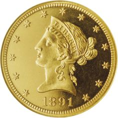 Liberty Head $10 - 1891 PF